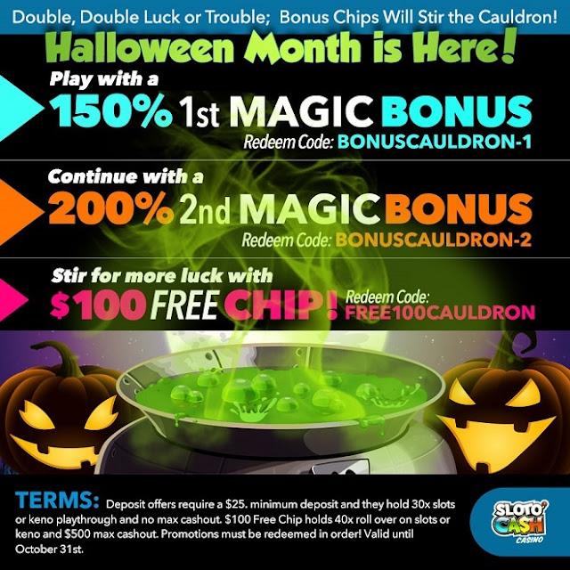 Sloto Cash casino Halloween bonus pack