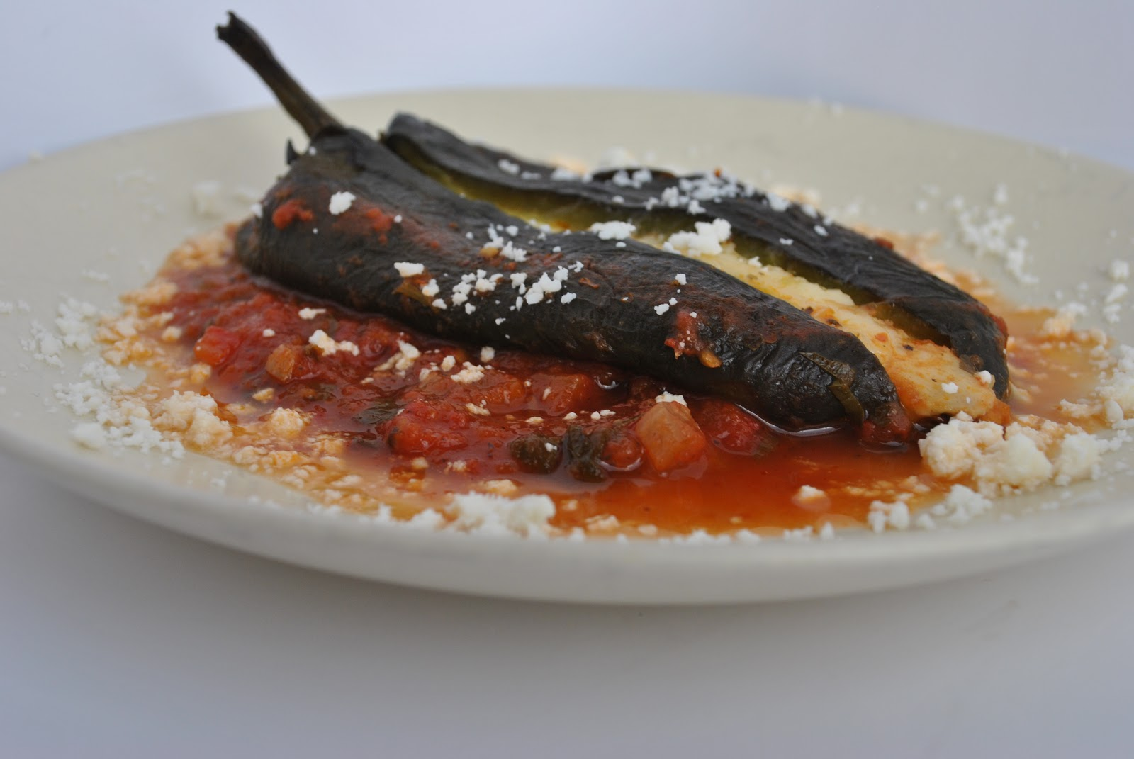 Classic Chile Relleno with Herbed Red Pepper Tomato Sauce