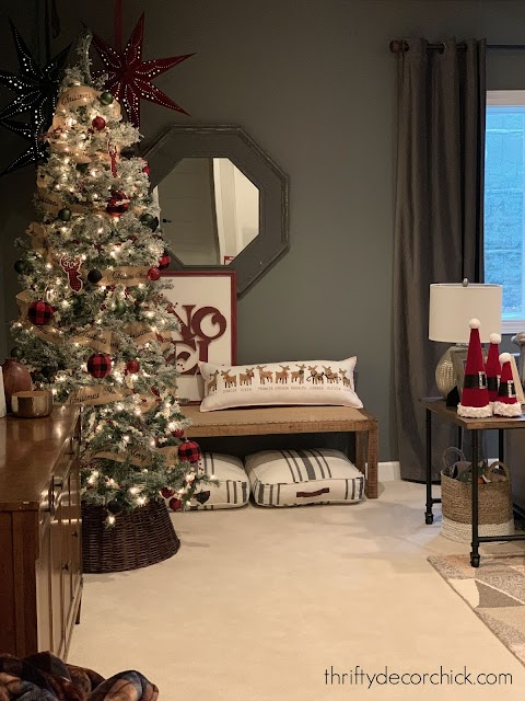 Christmas tree dark gray walls