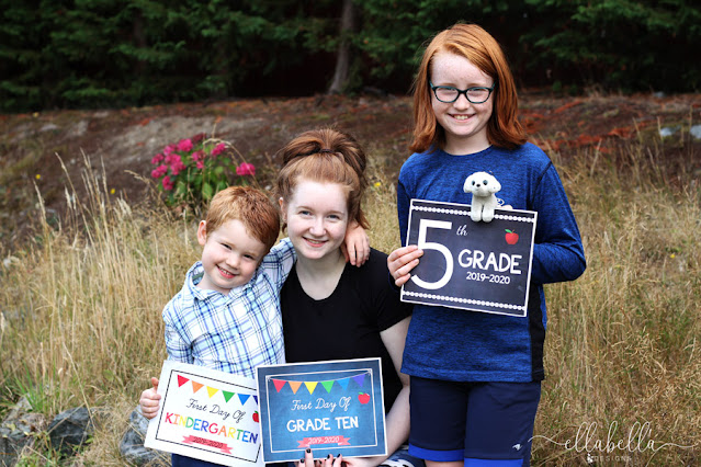 Back to School Photo with Kids Holding Grade Signs
