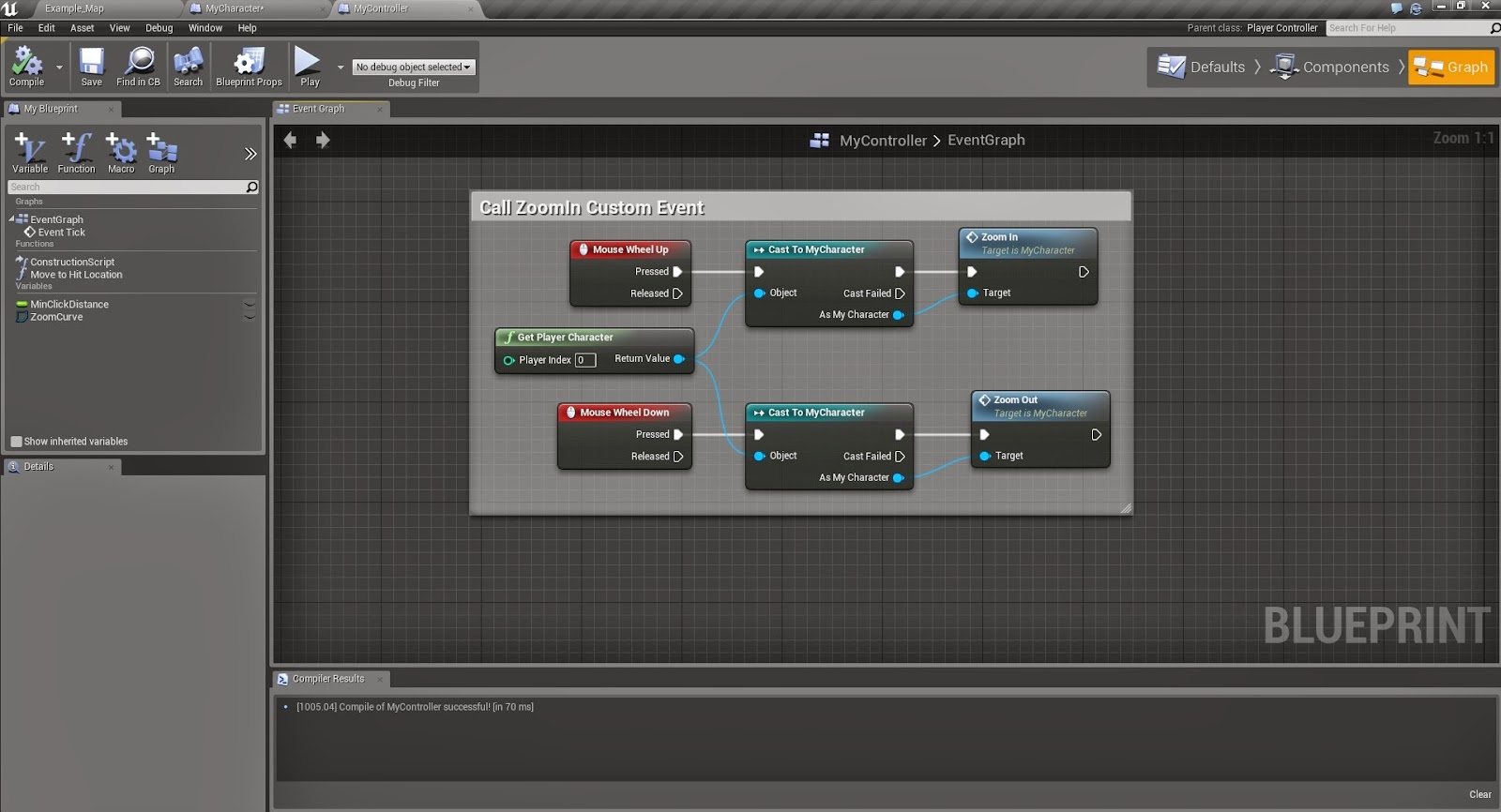 Unreal possibilities unreal engine 4 tutorial smooth zoom using mouse inputs to these events and we have a working smooth zoom system for the top down template heres a screenshot of the player controller blueprint malvernweather Gallery