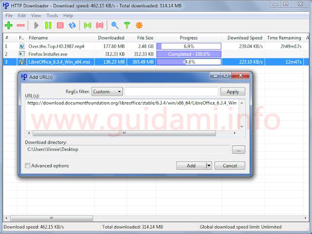 HTTP Downloader con finestra Add URL