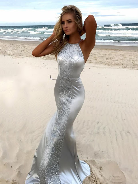 Trumpet/Mermaid Scoop Neck Silk-like Satin Sweep Train Lace Prom Dresses