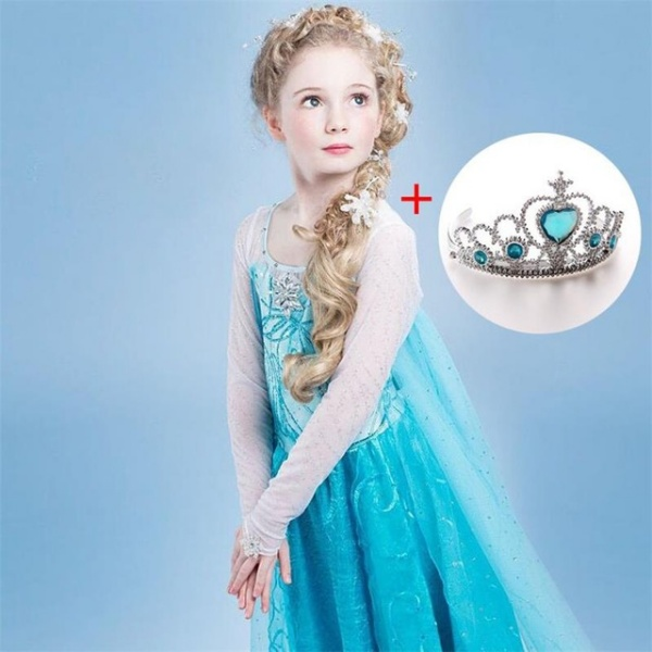 Clothing Wear Cosplay Elza Costume Halloween Christmas Party With Crown