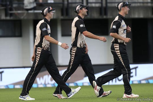 L-R: Mitchell Santner catch, Tom Bruce, Ben Wheeler, Black Caps - New Zealand Black Caps vs Bangladesh, 20-20 ANZ T20 cricket  at McLean Park, Napier. photograph