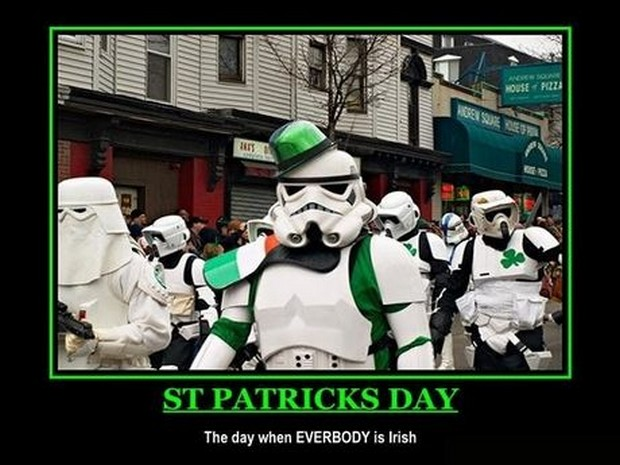 Star Wars St Patricks Day meme -- everybody is Irish! -- Celebrating St Patricks Day with Cats, Star Wars, Yoga... Ya Know, the Usual!  ;P  Plus, the #FridayFrivolity LINKY - the blog party where hosts comment, pin, tweet, and want to get to know you!