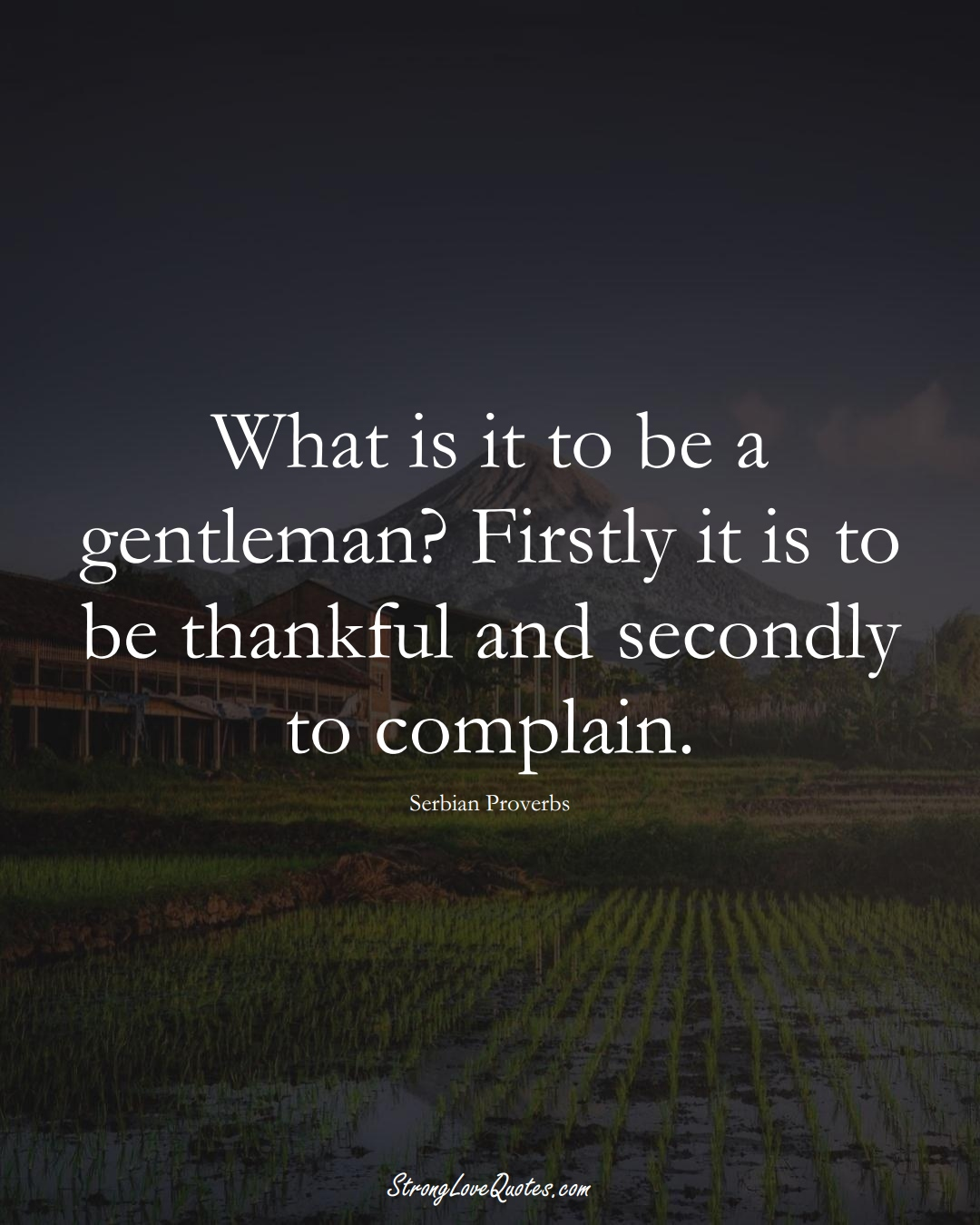 What is it to be a gentleman? Firstly it is to be thankful and secondly to complain. (Serbian Sayings);  #EuropeanSayings