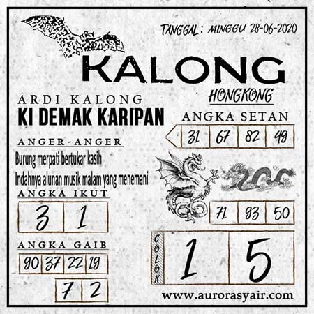 Prediksi Syair Kalong Togel Hongkong Minggu 28 Juni 2020