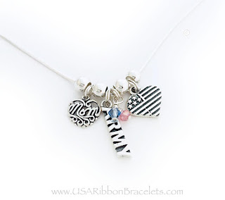Army Mom Charm Necklace with a Heart Flag and 2 Birthstone Charms