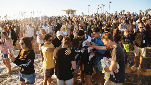 Shut out of church buildings, believers in CA have found the beach a great place to gather and worship.