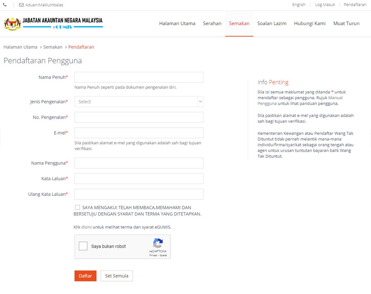 Cara Check Wang Tidak Dituntut (WTD) Secara Online