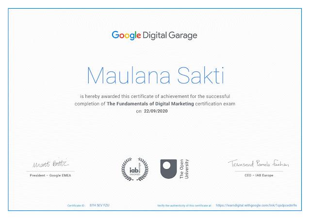 Sertifikat Pelatihan The Fundamentals of Digital Marketing dari Google Digital Garage