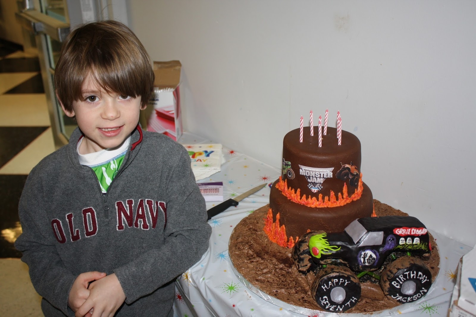 Marvelous Grave Digger Monster Truck Birthday Party And Cake Life Cake Personalised Birthday Cards Sponlily Jamesorg