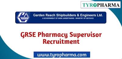Recruitment for Pharmacy Supervisor at GRSE