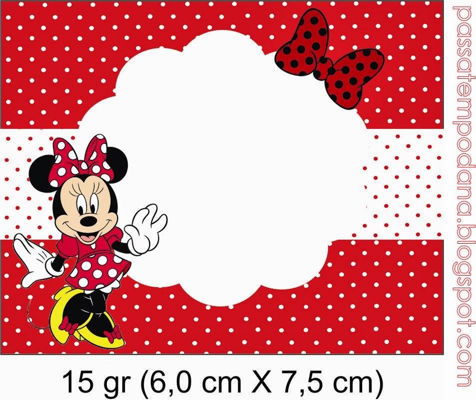 Minnie Con Lunares En Rojo Invitaciones Y Etiquetas Para