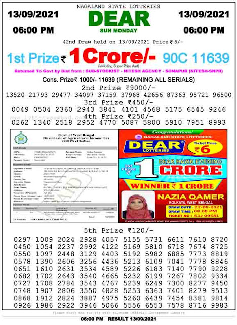 Nagaland State Lottery Result 13.9.2021 Today