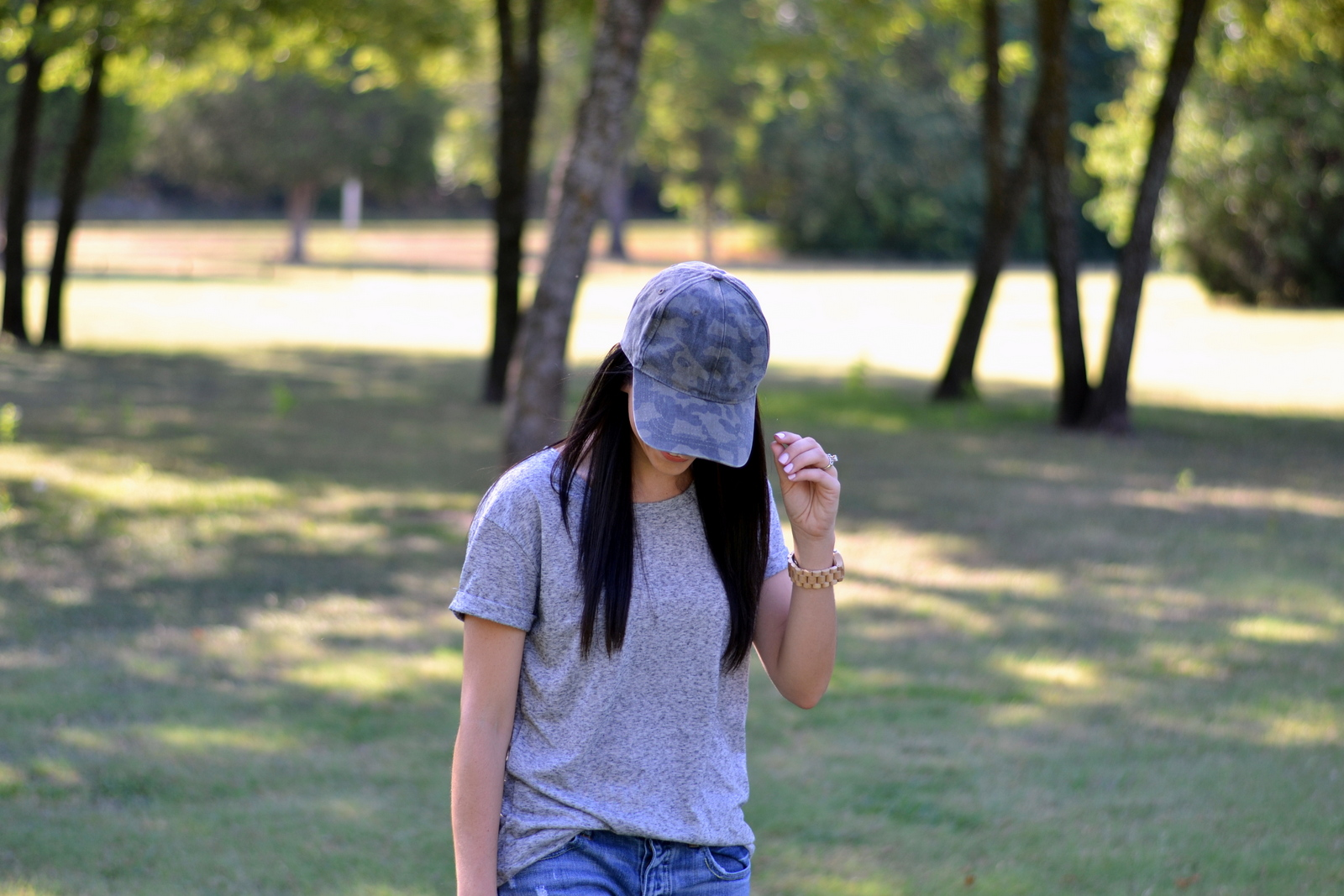 Casual Gray Tee and Camo Hat
