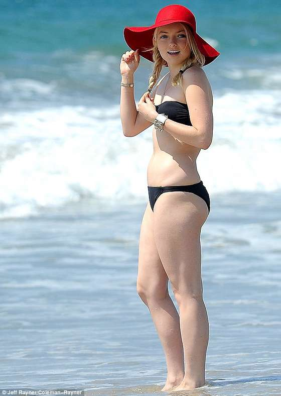 Francesca Eastwood shows off curves in a black bikini