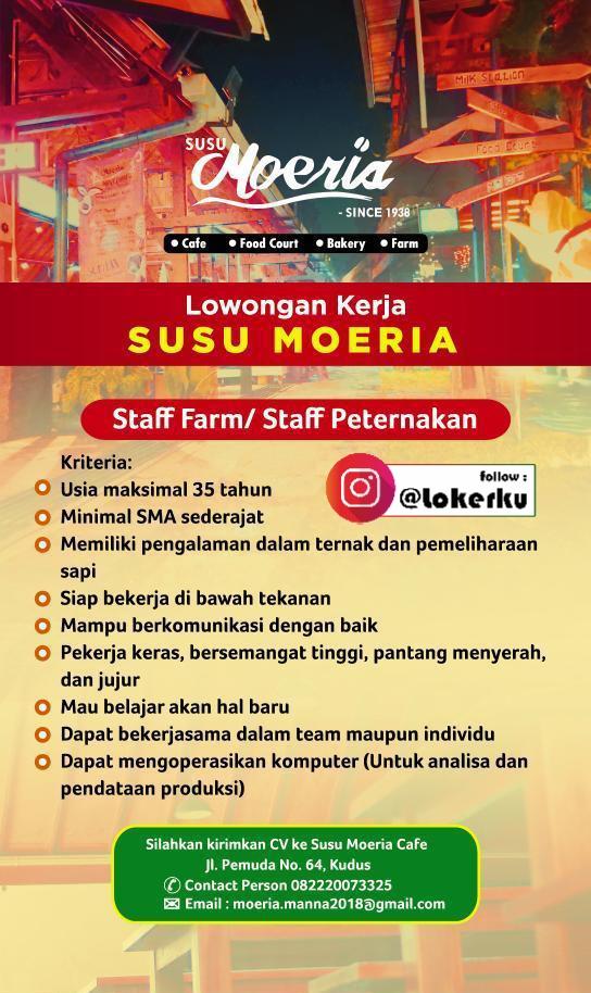 Info loker Kudus sebagai Staff Farm/ Staff Peternakan di Susu Moeria