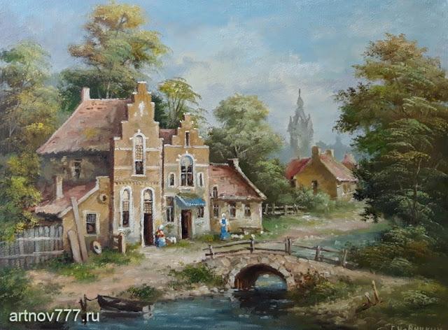 Мост, лодка, лето, картина