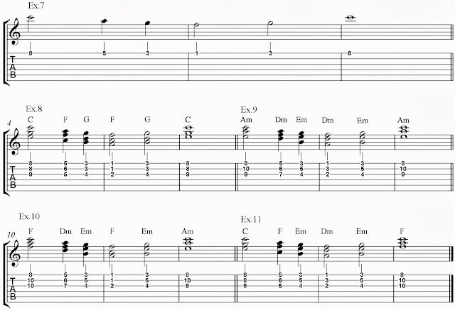guitariosity harmonizing melody with chords part 1 using triads on first set of 3 adjacent strings. Black Bedroom Furniture Sets. Home Design Ideas