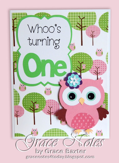 owl-themed baby's 1st birthday card. Created by Grace Baxter