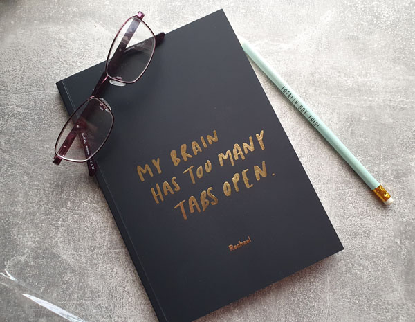 Personalised notebooks with gold print