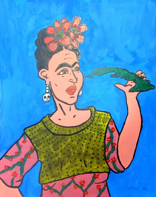 Frida Kahlo and Cuba - 20x16 inches. Oil on Paper, c. 1978 by F. Lennox Campello