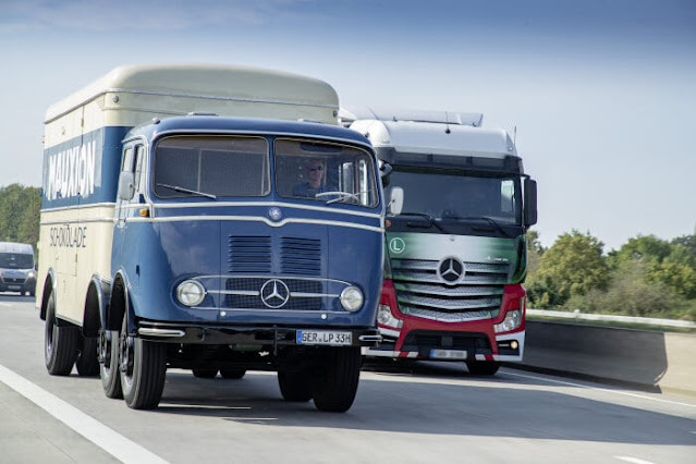 Mercedes-Benz LP 333 (left) and Mercedes-Benz Actros 1848.