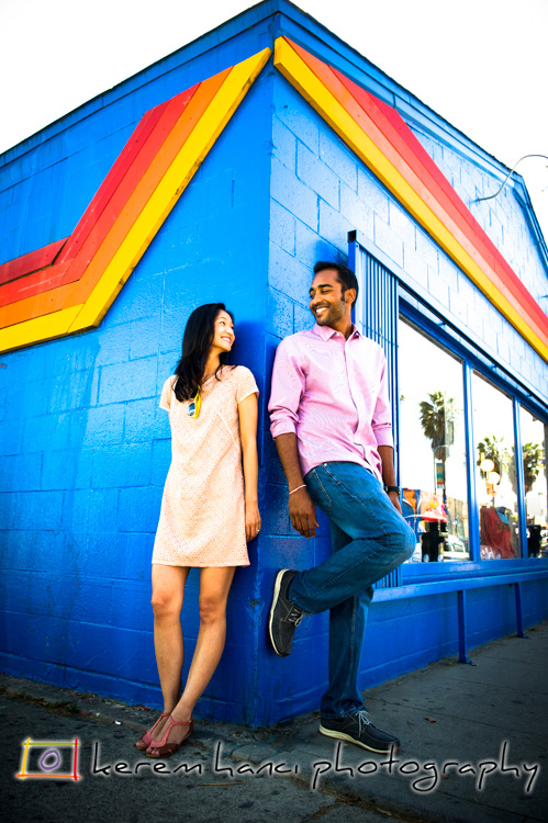 A colorful store on Abbot Kinney, Venice CA was the backdrop for this picture of Chang and Mehul during their Engagement Session