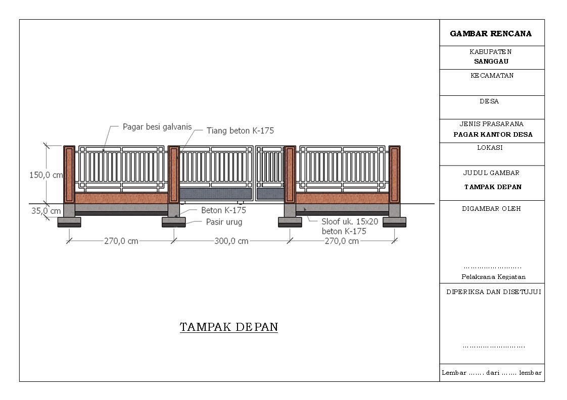 Infrastruktur Perdesaan Desain Dan Rab Pembangunan Pagar Kantor Desa