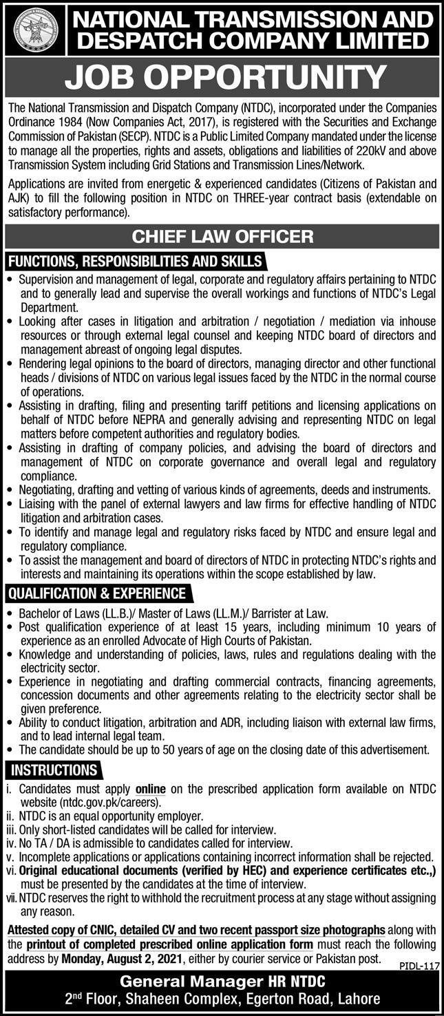 ntdc.gov.pk Jobs 2021 - National Transmission and Despatch Company Limited (NTDC) Jobs 2021 in Pakistan