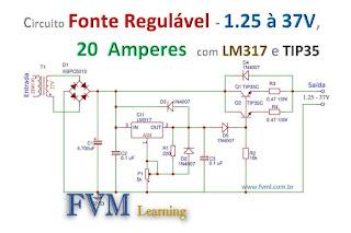 Fonte Regulável 1.2 à 37V Alta Corrente 20A com LM317 e TIP35C