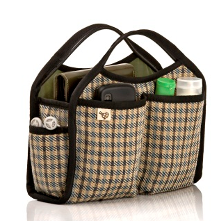 purse organizer, plaid