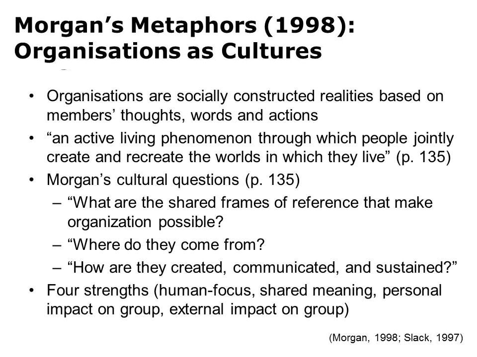Acts of Leadership: Organisations as Cultures