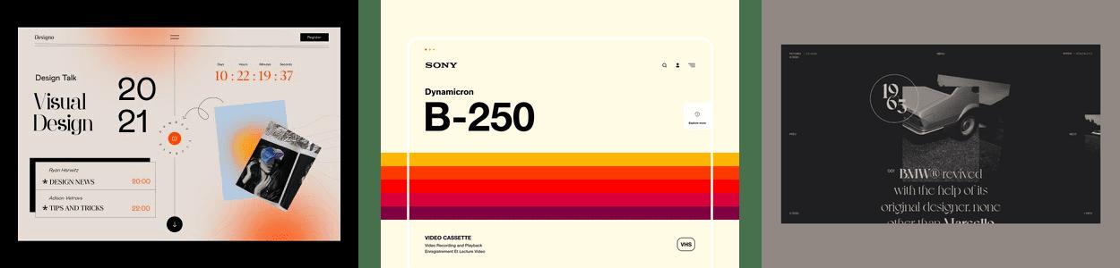 three examples of the vintage/retro web design trend
