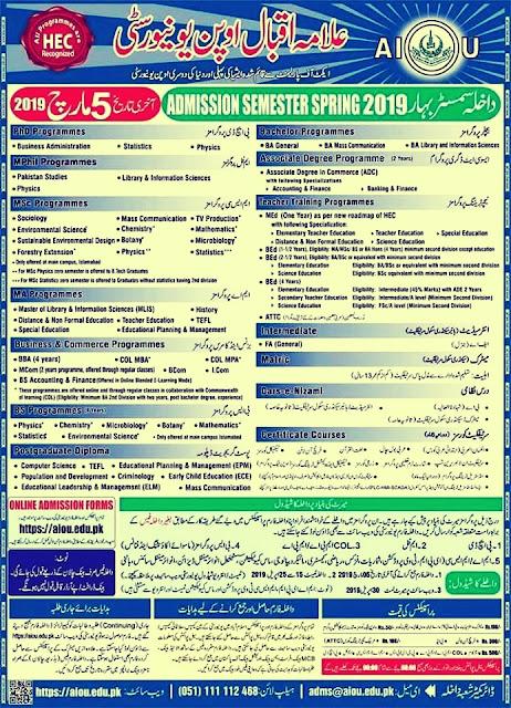 Aiou Spring Admission 2019 | Allama Iqbal Open University Spring Admission 2019 | Online Registration