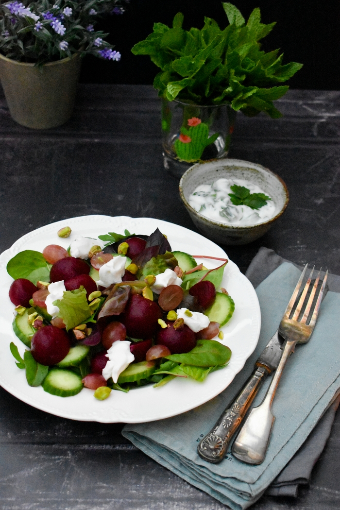 Beet, Grape & Cream Cheese Salad with Herby Yogurt Dressing A colourful beet salad with lots of flavour and texture, served with a yogurt, fresh herb and garlic dressing. Suitable for vegetarians and vegans.