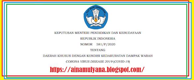 Tentang Daftar Daerah Khusus Dengan Kondisi Kedaruratan Dampak Wabah  Corona Virus Diseas KEPUTUSAN MENDIKBUD NOMOR 581/P/2020 TENTANG DAERAH KHUSUS DENGAN KONDISI KEDARURATAN DAMPAK WABAH  CORONA VIRUS DISEASE 2019 (COVID-19)