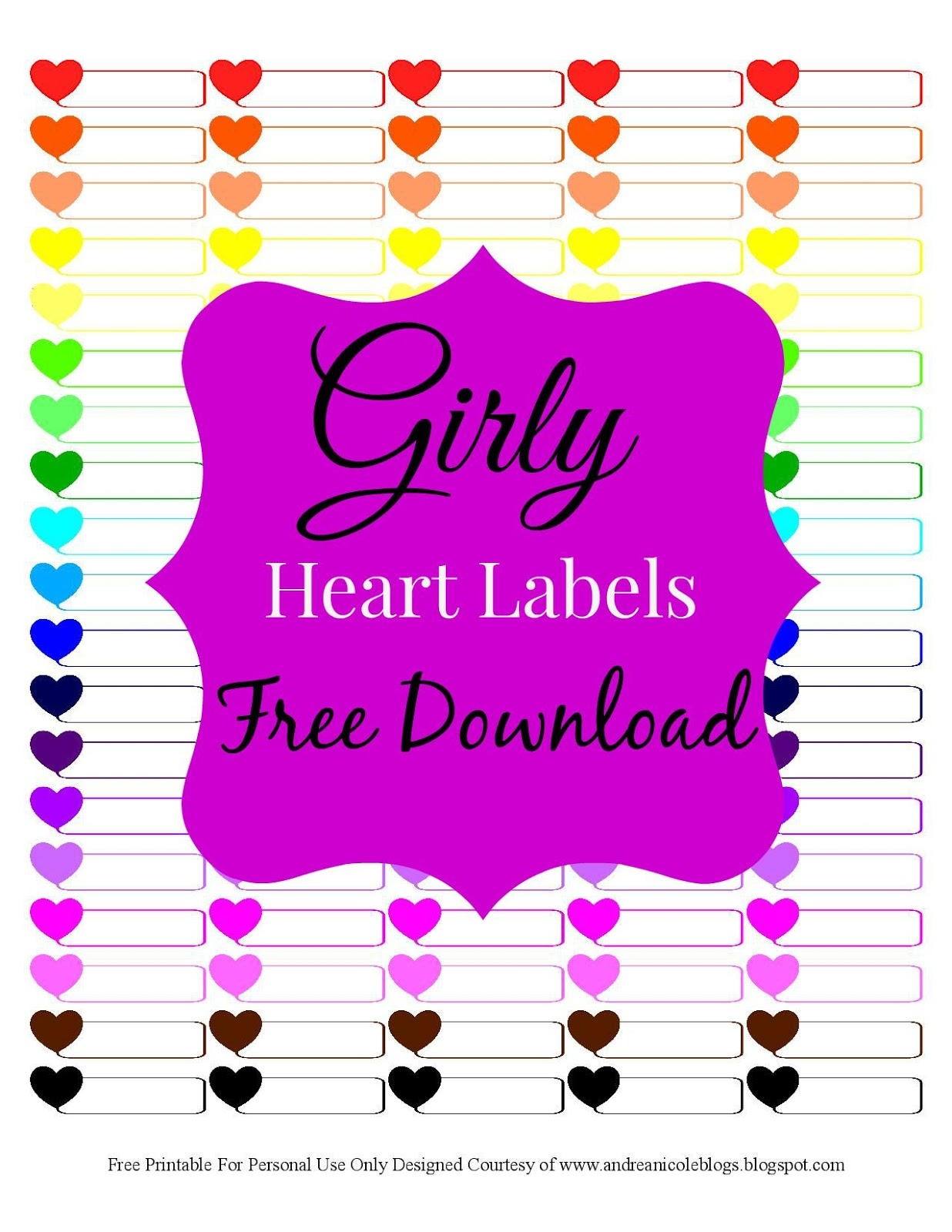 Andrea Nicole Free Printable Girly Heart Planner Labels
