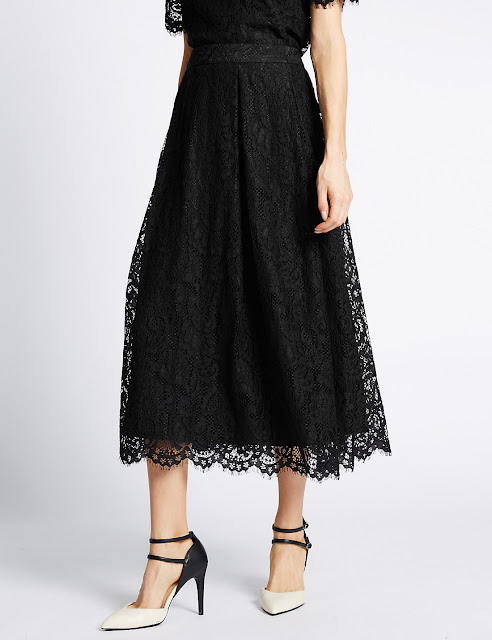 Marks and Spencer Cotton Blend Lace A Line Skirt