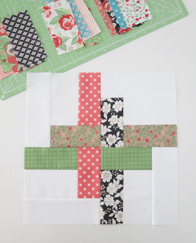 Hello Washi quilt block  - pattern uses charm squares or jelly roll strips and comes in four sizes: baby quilt, throw quilt, twin quilt, or queen size quilt