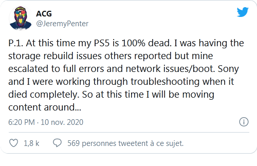 PS5: يقول موقع Youtubeur إن وحدة التحكم الخاصة به قد ماتت بالفعل بنسبة 100 ٪