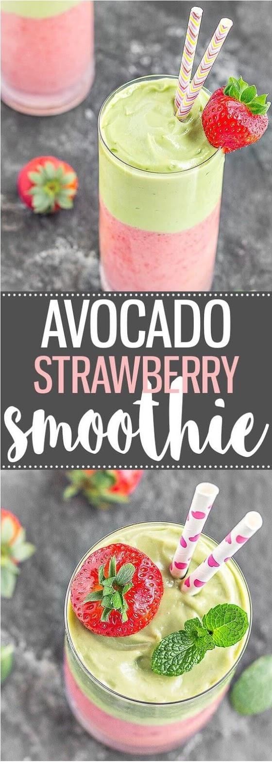 Avocado Strawberry Layered Smoothie