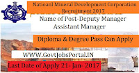 National Mineral Development Corporation Recruitment 2017 For Deputy Manager Post