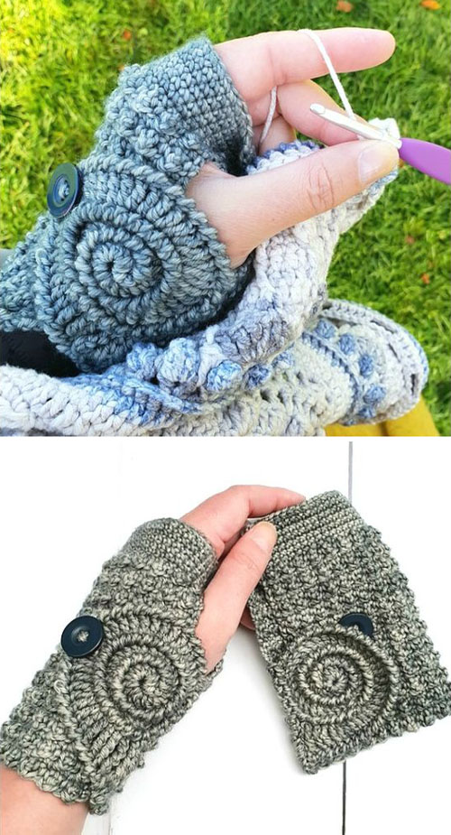 Ammonite Wrist Warmers - Free Pattern