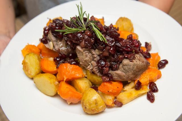 mini roast dinner - lamb with roast potatoes and sweet potato