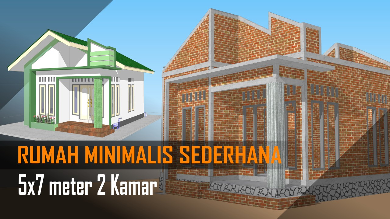 DESAIN Rumah Minimalis Sederhana 5x7 Meter 2 Kamar