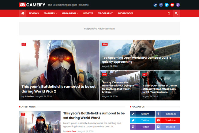 Gameify - Weblog & Magazine Gaming Blogger Templates