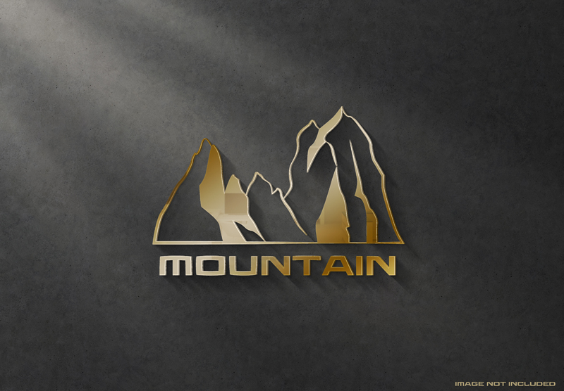 3D Glossy Gold Logo Sign Dark Wall Mockup